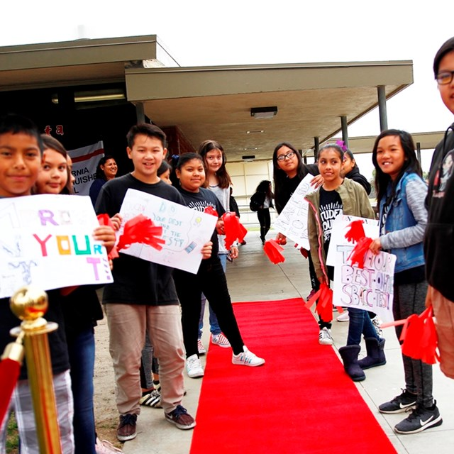 Students roll out the red carpet to celebrate their recognition as a 2018 CA Distinguished School!